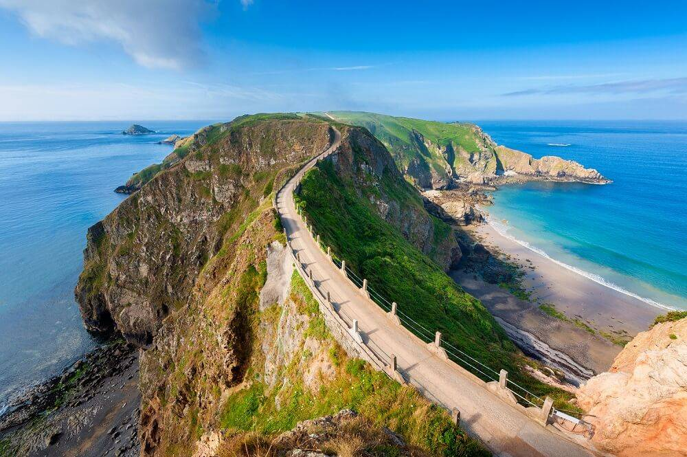 channel islands beach and seaside and footpath on a cliff