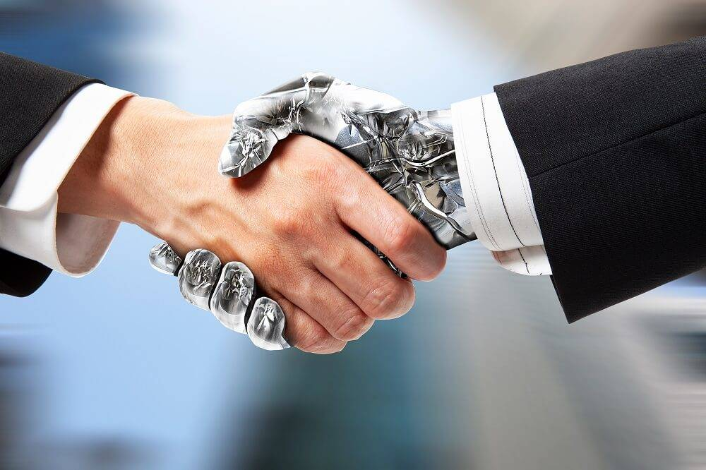 human lawyer in a suit shaking hands with a robot also in a suit