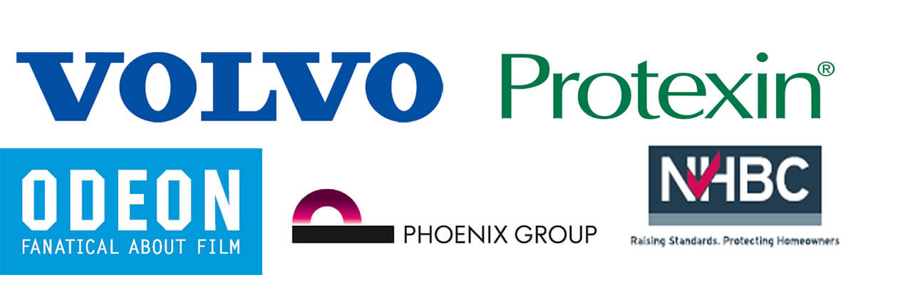 group of company logos: Volvo, Protexin, NHBC, Phoenix Group, Odeon